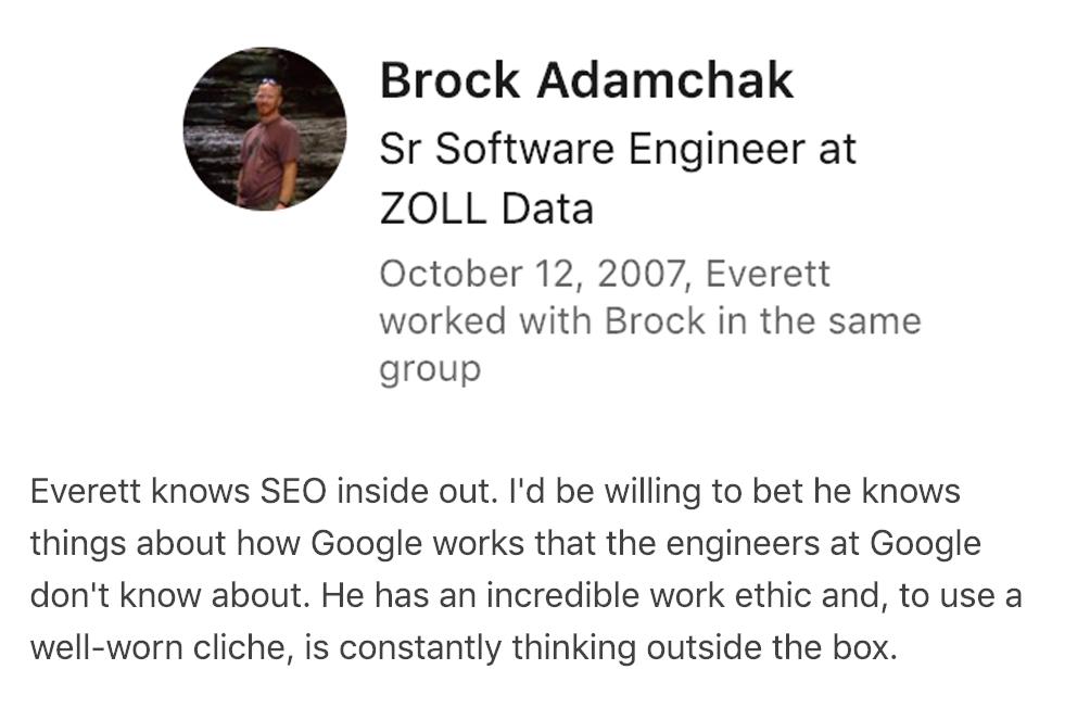Brock's SEO Recommendation for Everett Sizemore