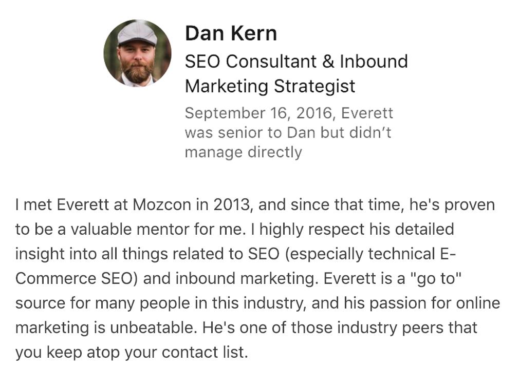 Dan Kern's SEO Recommendation for Everett Sizemore