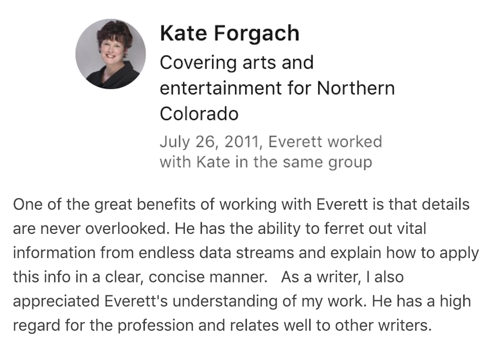 Kate Forgach's SEO Recommendation for Everett Sizemore