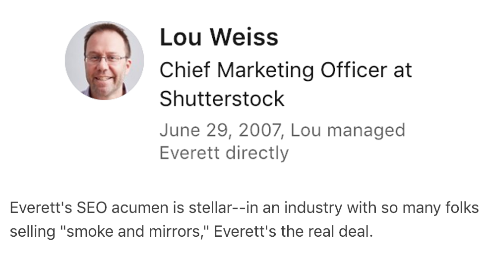 Lou Weiss's SEO Recommendation for Everett Sizemore